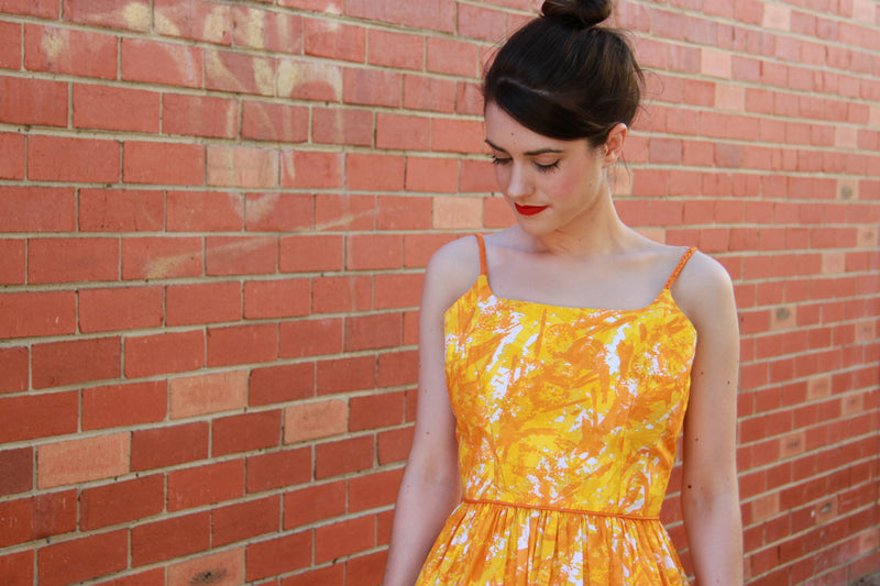Vintage 1950s Orange Cotton Sundress / S
