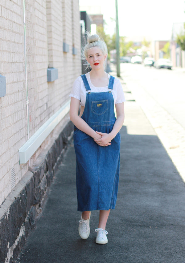 Vintage 1970s Osh Kosh Denim Pinafore Dress / Overalls Dress / Large