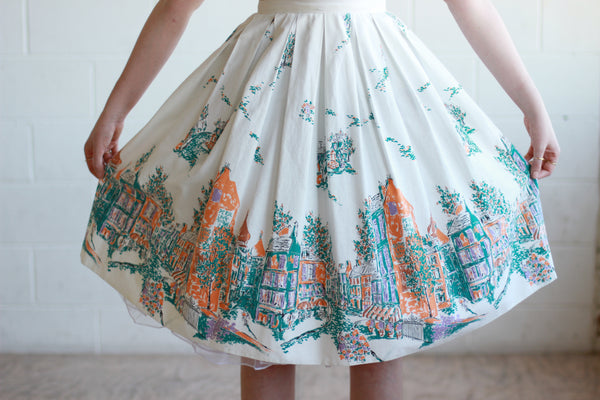 Vintage 1950s Parisian Novelty Print Border Skirt / XS