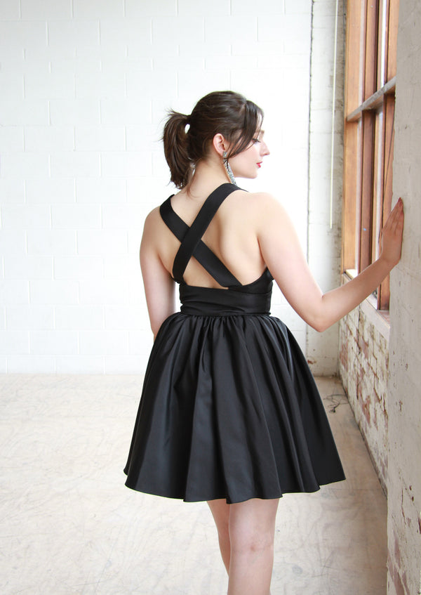 Vintage 1960s Black Sweetheart Party Dress / Cross Back Straps / S