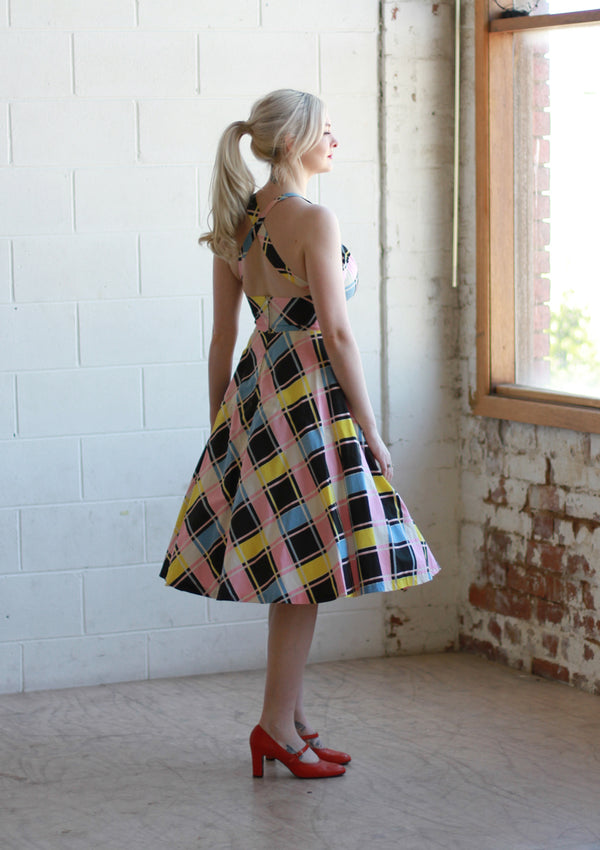 Vintage 1940s Rainbow Plaid Dress / Small / Medium