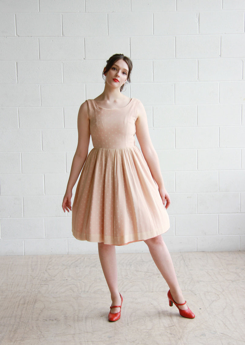 Vintage 1950s Ballerina Polka Dot Dress / Full Skirt / Small