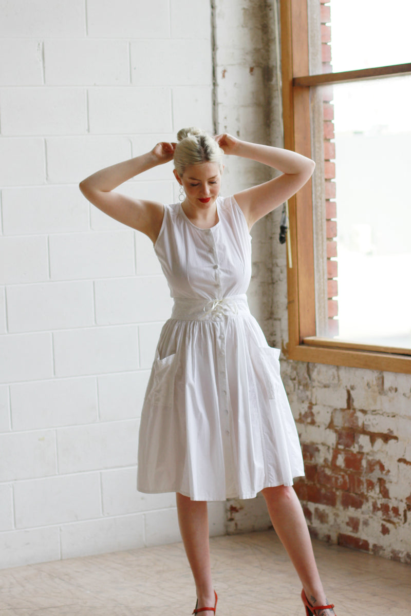 Vintage Indian Cotton White Sundress / S/M