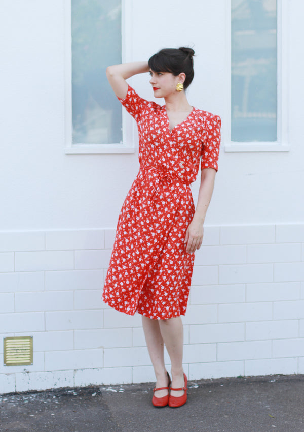 Vintage Red Floral Wrap Sundress / M