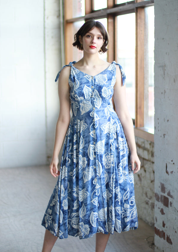 Vintage 1970s René Derhy PARIS Blue Floral Dress / M