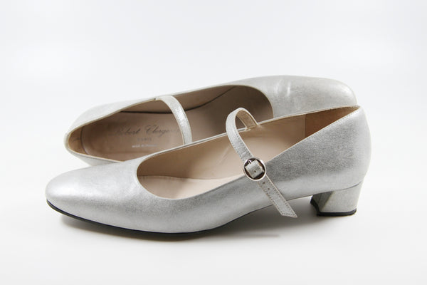 ROBERT CLERGERIE PARIS Silver Mary Jane Heels / Made in France / 7