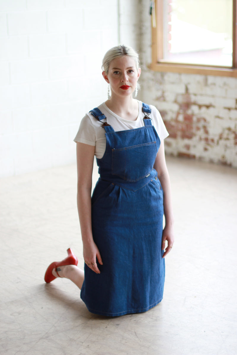 Vintage 1970s Denim Overalls Dress / Jumper Dress / XS