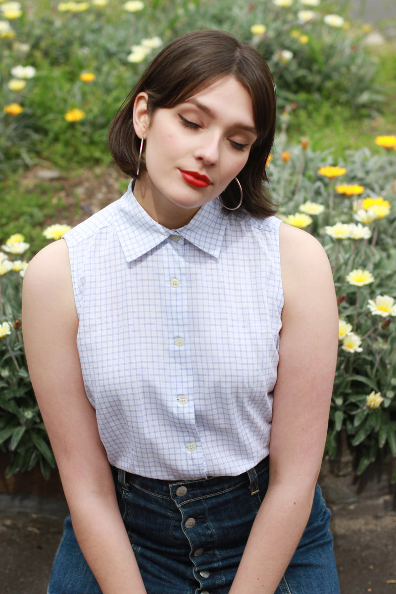 Vintage White Blue Plaid Button Up Sleeveless Shirt / M