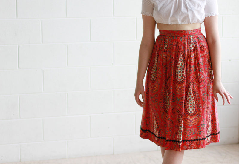 Vintage 1960s Red Paisley Print Cotton Skirt / Small / Medium