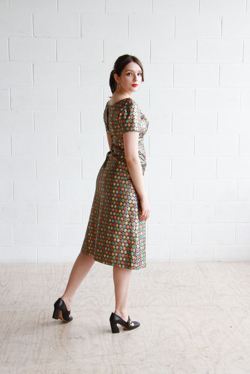 Vintage 1950s GEMSTONE Glitter Dress / XS/S