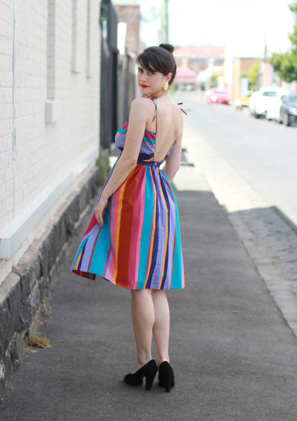 Vintage 1970s Rainbow Stripe Sundress / Low Back / Full Skirt / Tie Straps / XS