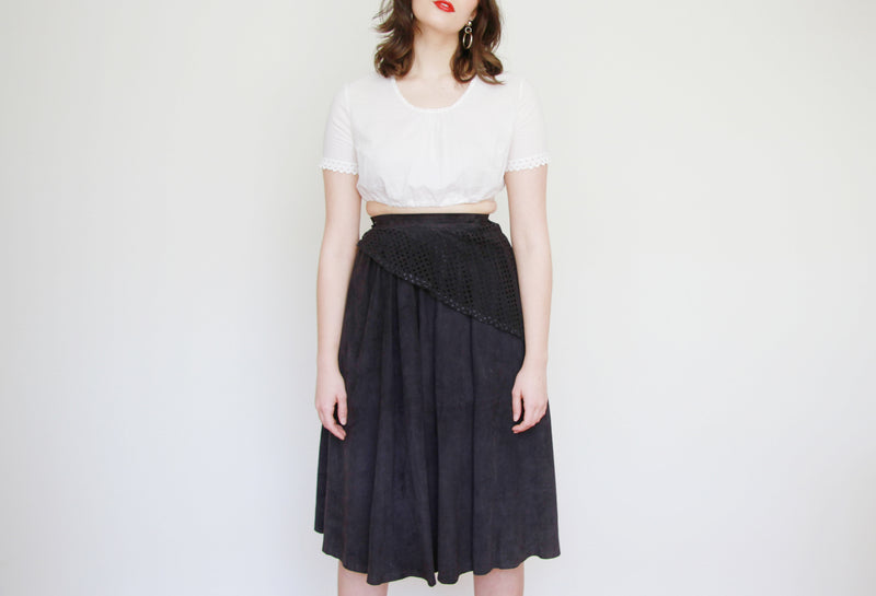 Vintage Navy SUEDE Leather Ballerina Skirt / XS