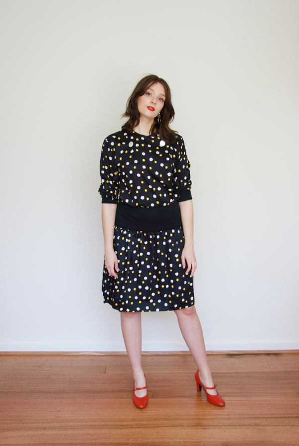 It's A Beautiful Day / Vintage 1980s TED LAPIDUS Boutique PARIS Polka Dot Dress / Medium