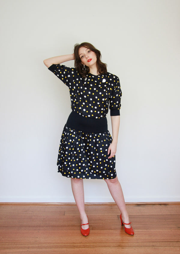 Vintage 1980s Ted Lapidus Boutique PARIS Polka Dot Dress / Medium