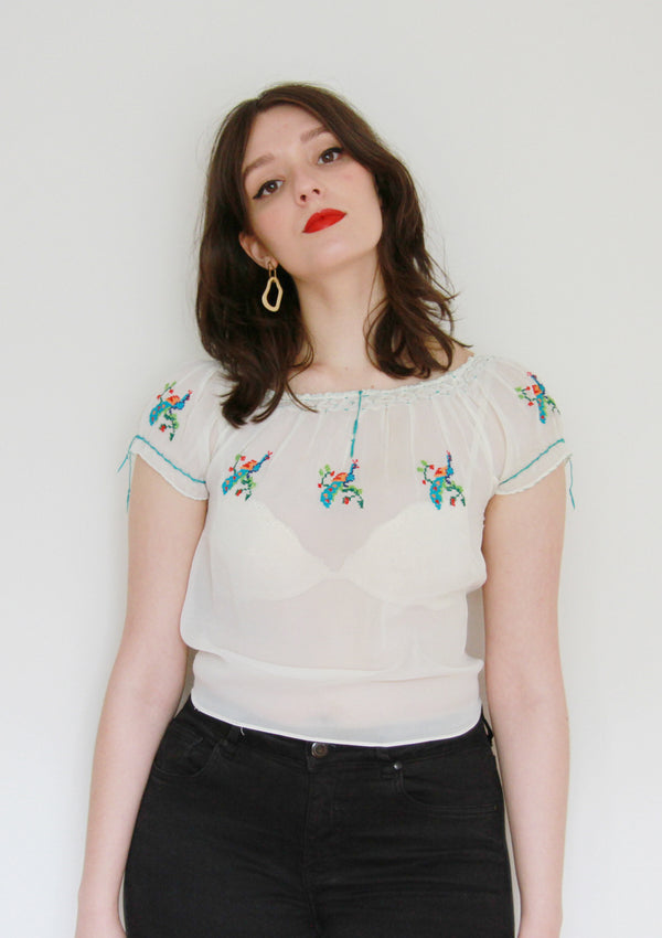 It's A Beautiful Day / Vintage 1950s Peasant Blouse / XXS/XS