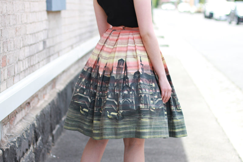 Vintage 1950s VENICE Novelty Print Cotton Skirt / XS