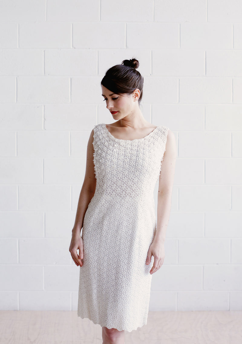 Vintage 1950s White COUTURE Dress / The JANE Dress / S/M