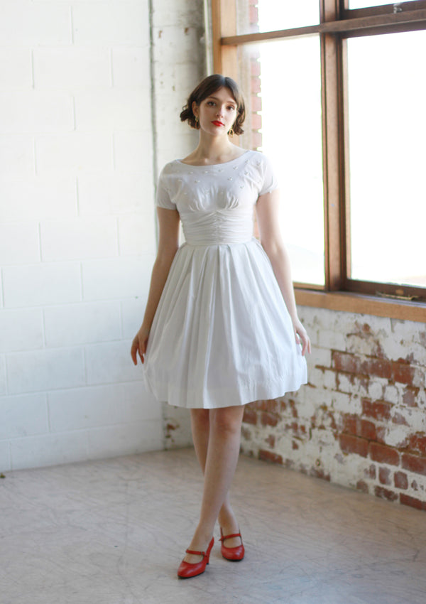Vintage 1950s White Cotton Ballerina Dress / XS