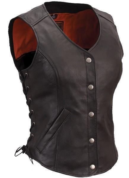Side Lace Women Leather Vests - Xosack