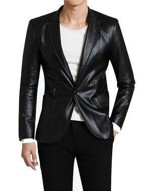 Slimsilky Men Leather Blazers - Xosack
