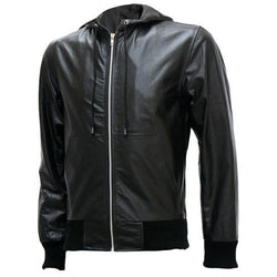 Exclusive Men's Black Bomber Leather Jacket with Hoodie - Xosack