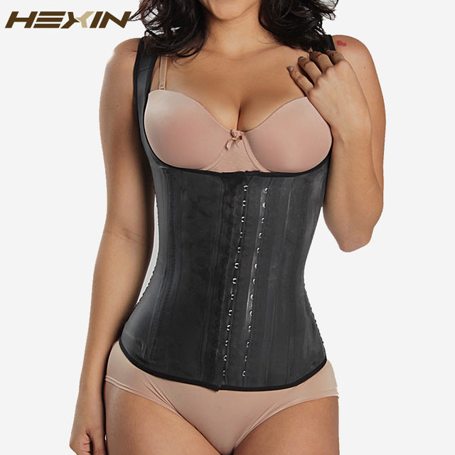HEXIN Black 4 Rows Hooks Latex Waist Cincher