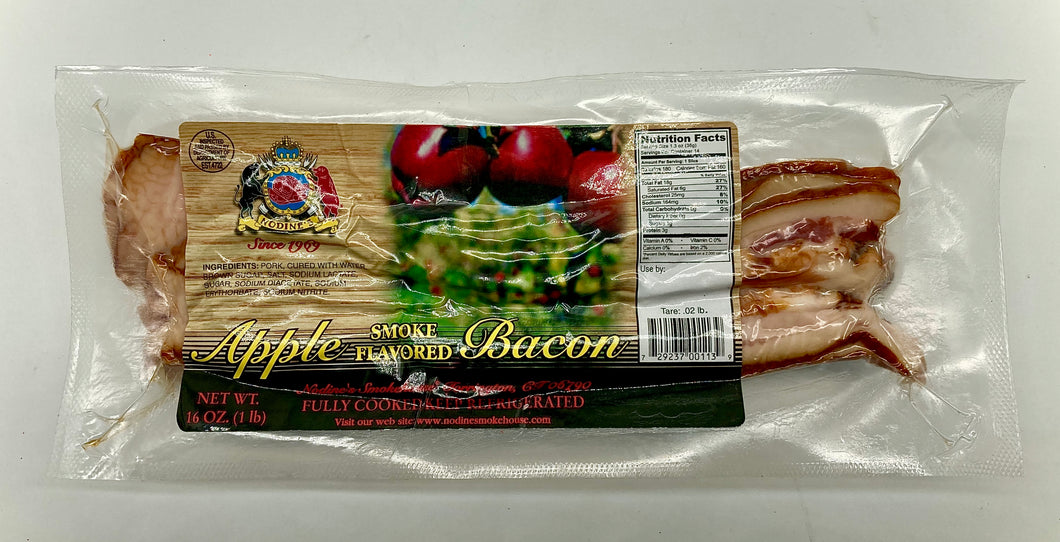 Nodines Applewood Smoked Bacon - 1lb Package - Made in Connecticut!