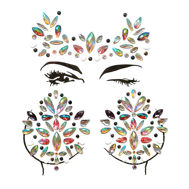 WHIMSICAL Festival Face & Body Jewels Set | Crystal Face & Body Stickers Set