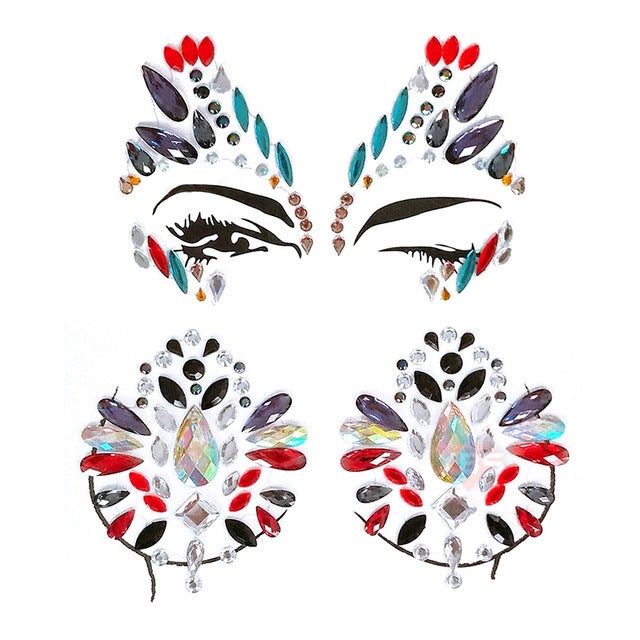 AZTEC Festival Face & Body Jewels Set | Crystal Face & Body Stickers Set