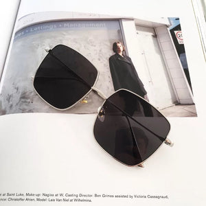 Trend square large frame metal sunglasses