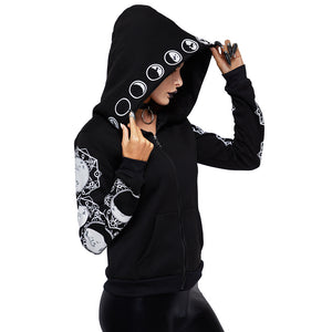 Gothic Women Hoodie Casual Long Sleeve Hooded zip-up Sweatshirts Hooded Female Jumper Women Tracksuits Hoodie