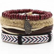 Load image into Gallery viewer, New Fashion Handmade Weave Vintage Punk Cuff Bead Anchor Charm Male Men Genuine Leather Bracelets For Women Female Jewelry