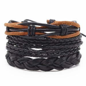 New Fashion Handmade Weave Vintage Punk Cuff Bead Anchor Charm Male Men Genuine Leather Bracelets For Women Female Jewelry