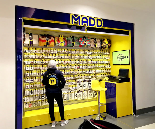 MADD at cairo festival city mall stickers and laptop sleeves