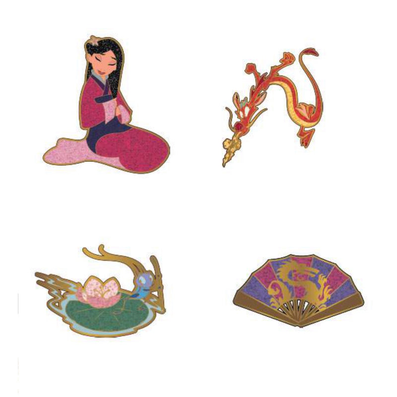 Mulan Disney Pins 4 Pcs Set
