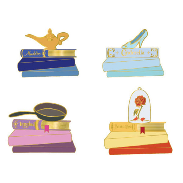 Disney Princess Books 4pc Pin Set