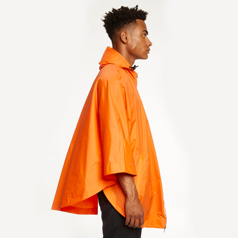 K-Way Men's Le Vrai 3.0 Morgan Full Zip Poncho Orange Flame