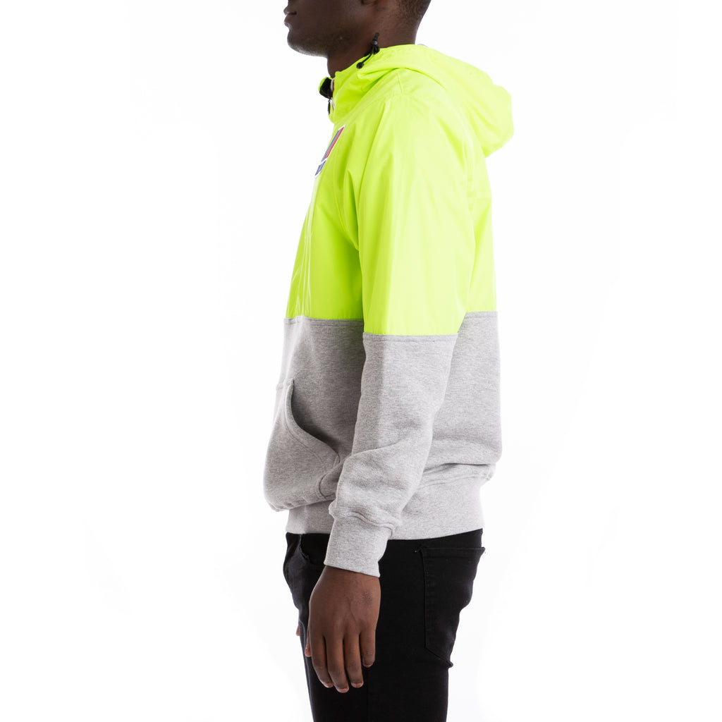 K-Way Men's Remix Claude Half Zip Demi Jacket Yellow Fluo Grey Mel
