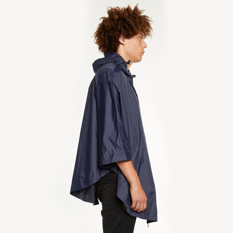 K-Way Men's Le Vrai 3.0 Morgan Full Zip Poncho Blue Depth