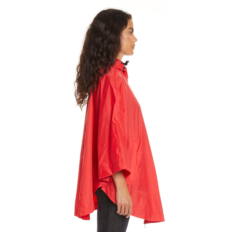 K-Way Women's Le Vrai 3.0 Morgan Full Zip Poncho Red
