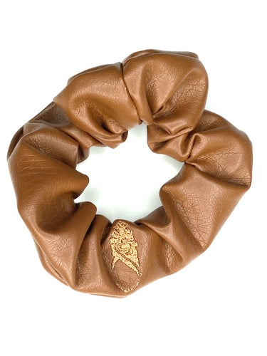 Butter Brown Vegan Leather Scrunchie