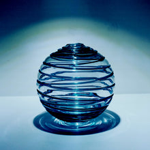 Bio-Orb Limited Edition Orb hand-blown glass sphere 5inch blue swirl aqua thread