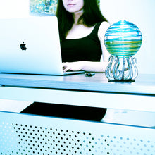 Bio-Orb daytime oxygen algae PyroDinos daytime girl desk apple laptop
