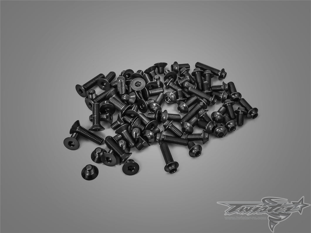 TR-ALSU-MTC1 7075-T6 Black Screw set(UFO Head) (For Mugen MTC1)
