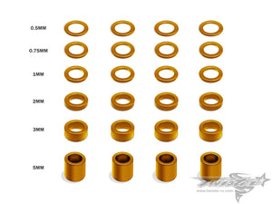 TR-AC19 Aluminum 4mm Bore Washer Set 0.5, 0.75 ,1 ,2 ,3 ,5mm each 4pcs.