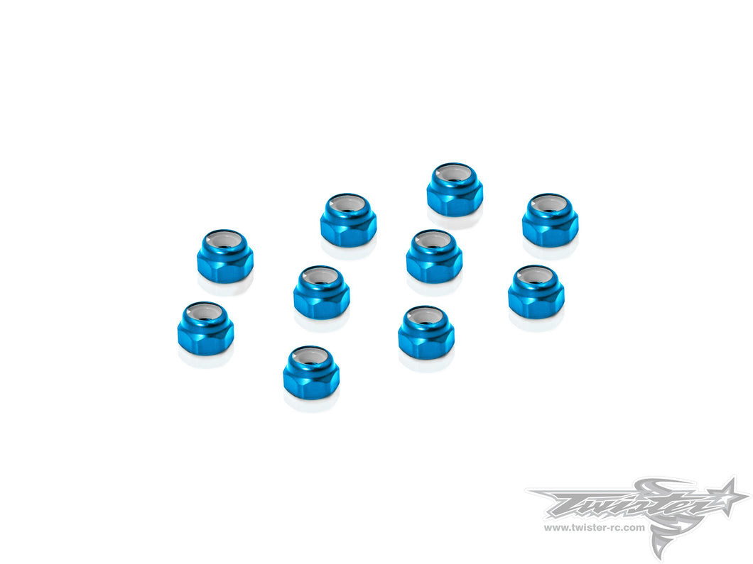 TR-AL-3LN Aluminium Lock Nuts 3mm 10pcs.