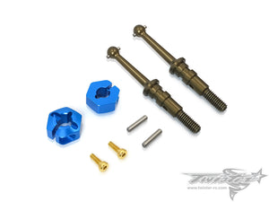 TR-EP100C-T301-A 7075-T6 Alu. Drive Shaft with Clip 12mm Wheel Adapter ( Tamiya T301 )