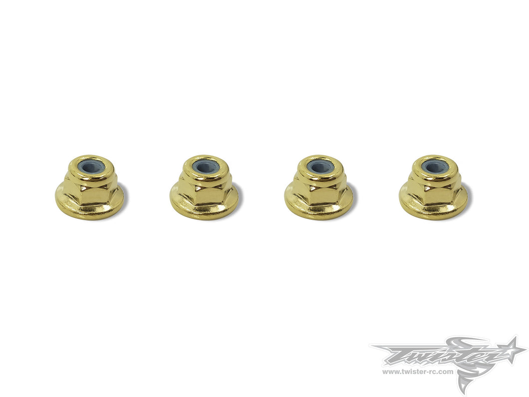 TR-GST-3FLN Golden Plated Flat M3 Lock Nuts ( 4pcs. )