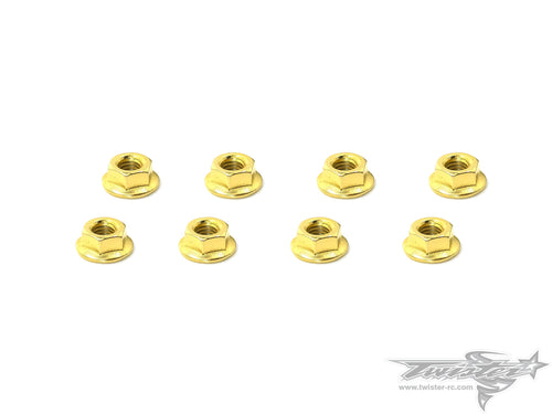 TR-GST-4SN Golden Plated Serrated M4 Wheel Nuts ( 8 pcs.)