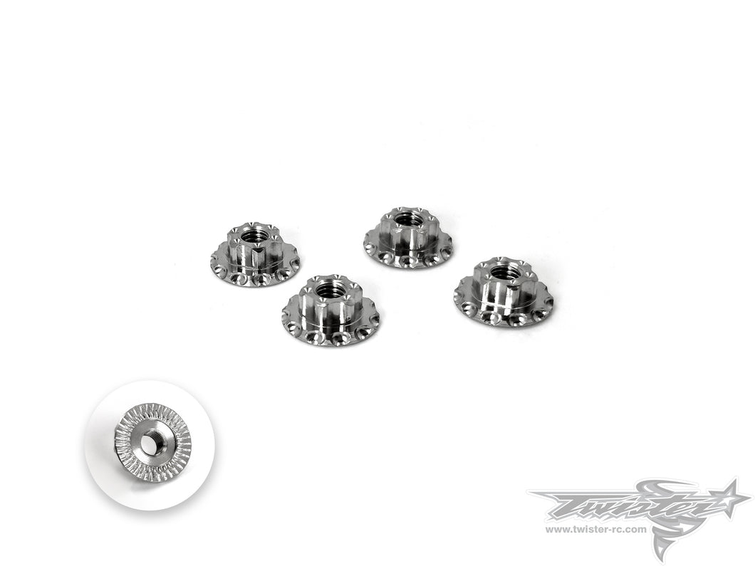 TR-T-OP34 64 Titanium Light Weight  large-contact Serrated M4 Wheel Nuts ( 4pcs. )